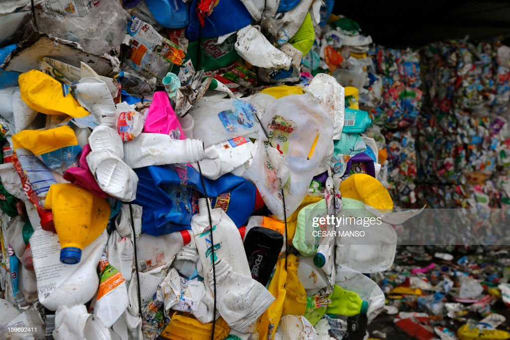 Packages of garbage for reclycing are pictured at a waste treatment plant in Burgos on January 18, 2013.