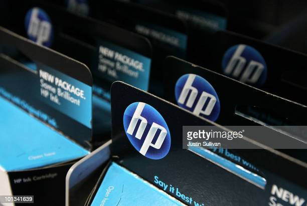 Packages of HP ink cartridges ares displayed at a Best Buy store June 1 2010 in San Francisco California HewlettPackard Co announced today that they...