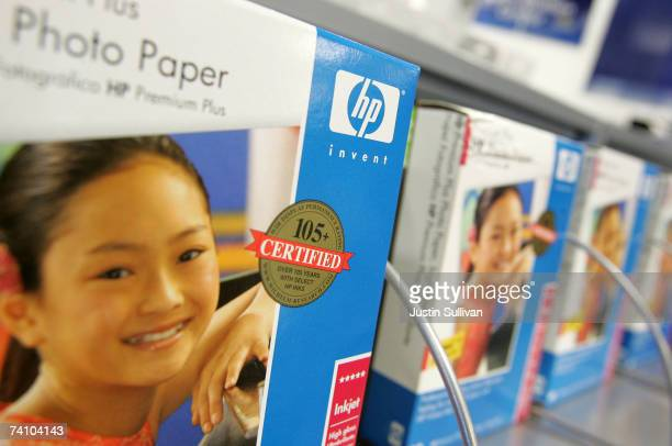 Packages of HP printer paper are displayed at a Best Buy store May 8 2007 in San Francisco California Computer maker HewlettPackard raised its second...