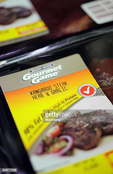 Packages of kangaroo steak are for sale at a supermarket in Sydney Australia on Tuesday Oct 14 2008 The kangaroo epitomizes Australia appearing on...