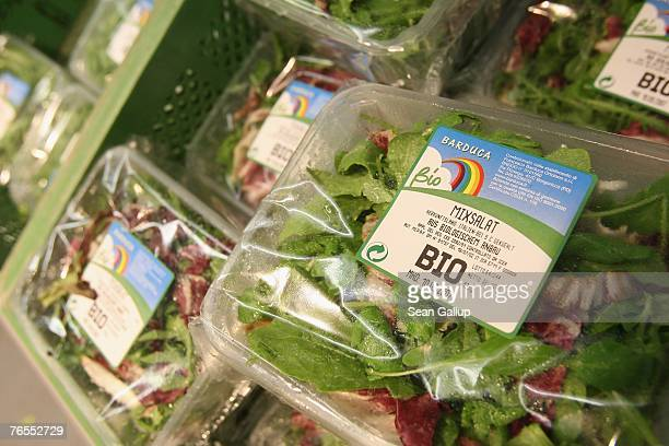 Packages of organic lettuce stand on display at the LPG Bio supermarket in the district of Prenzlauerberg September 6 2007 in Berlin Germany Germanys...