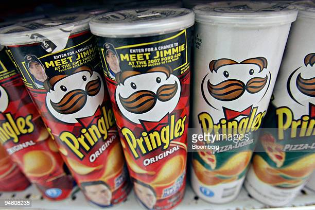 Packages of Pringles potato chips are displayed at an Associated Supermarket in New York US on Tuesday Oct 2 2007 Procter Gamble Co the largest US...