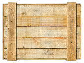 Packaging crate wooden panel background. Isolated on white, clipping path included.
