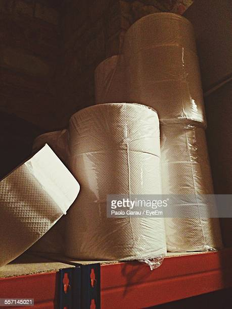 Packagings Of Toilet Paper On Shelf