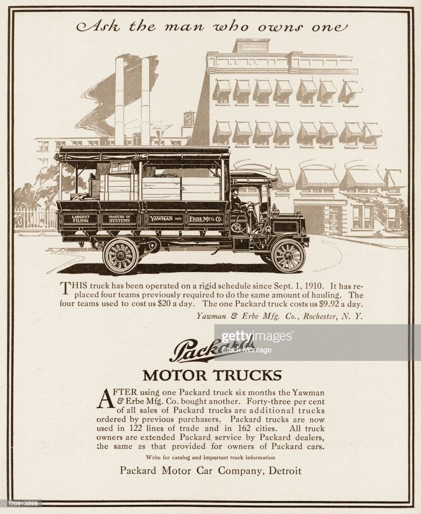 """A Packard motor truck is shown in a magazine advertisement from 1911 In the ad a customer testimonial regarding the truck pictured states """"It has..."""
