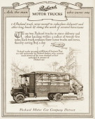"A Packard motor truck is shown in a magazine advertisement from 1911 In the ad a customer testimonial regarding the truck pictured states ""We use two..."