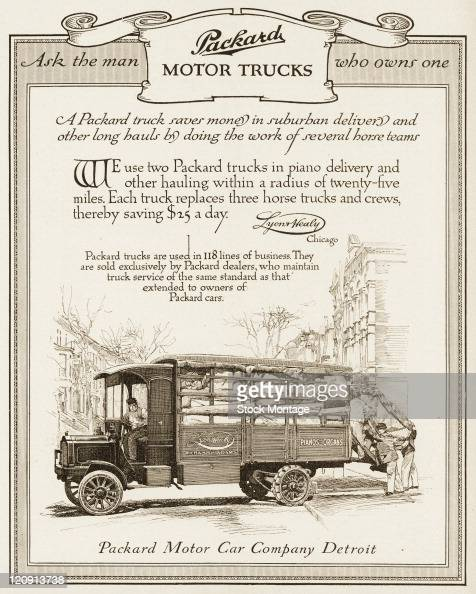 """A Packard motor truck is shown in a magazine advertisement from 1911 In the ad a customer testimonial regarding the truck pictured states """"We use two..."""