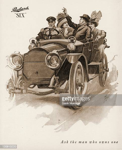 """A Packard Six automobile is shown in a magazine advertisement from 1912 The Packard slogan """"Ask the man who owns one"""" appears near the bottom..."""
