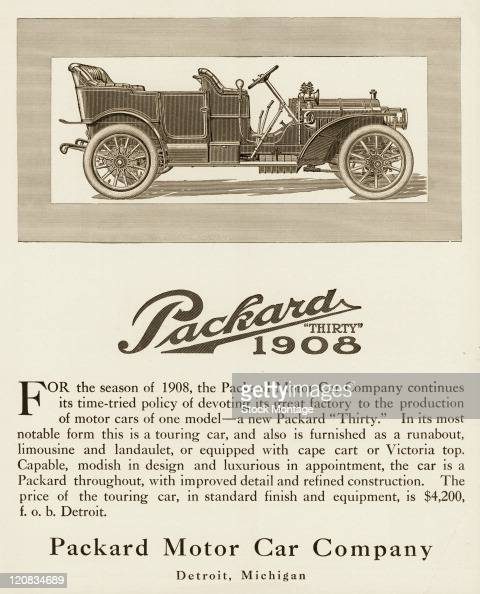 """A Packard Thirty automobile is shown in a magazine advertisement from 1907 The ad states """"Capable modish in design and luxurious in appointment the..."""