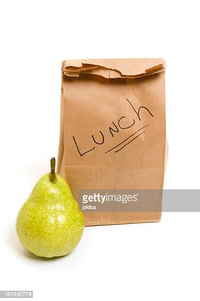 Packed bag lunch with bartlett pear for school or office