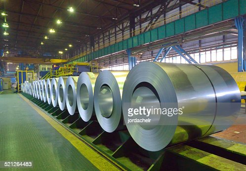 packed coils of steel sheet : Stock Photo