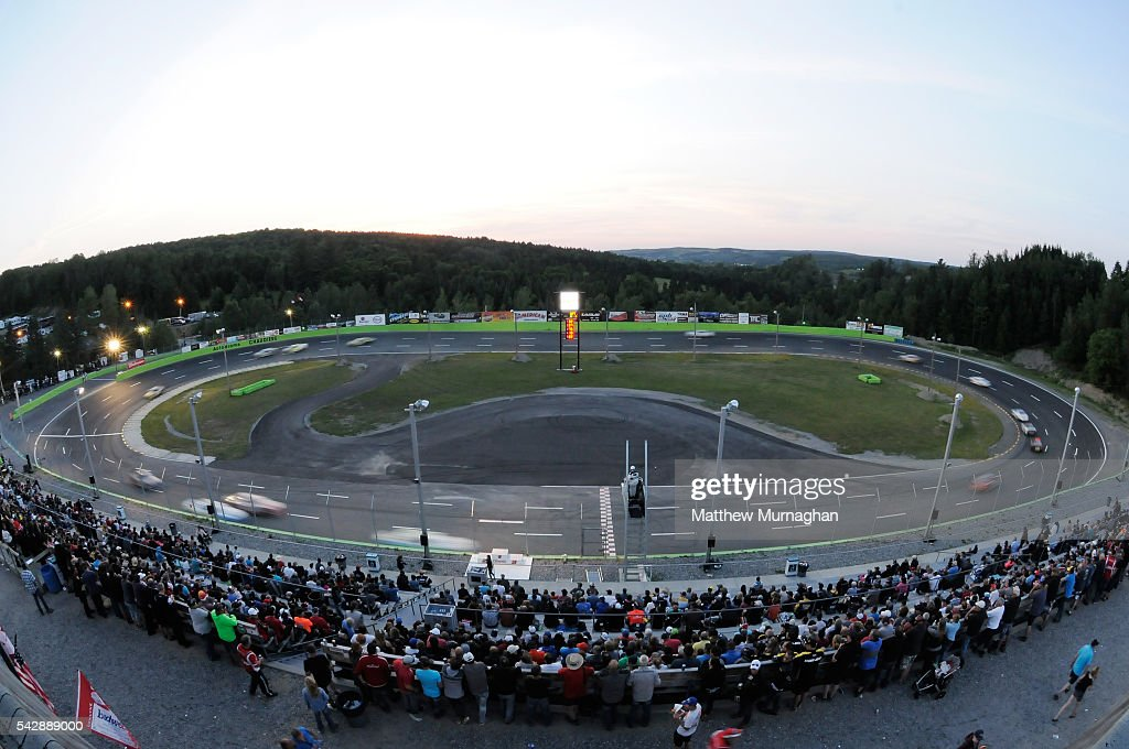 Packed crowd looks on at the CRS Express 300 at Autodrome Chaudiere on June 24, 2016 in Vallee-Jonction, Quebec, Canada.