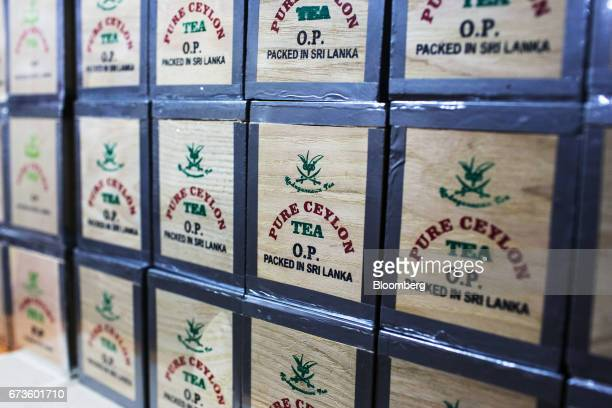 Packed house brand teas are diplayed at the factory store of the Geragama Tea Estate operated by Pussellawa Plantations Ltd in Pilimathalawa Central...