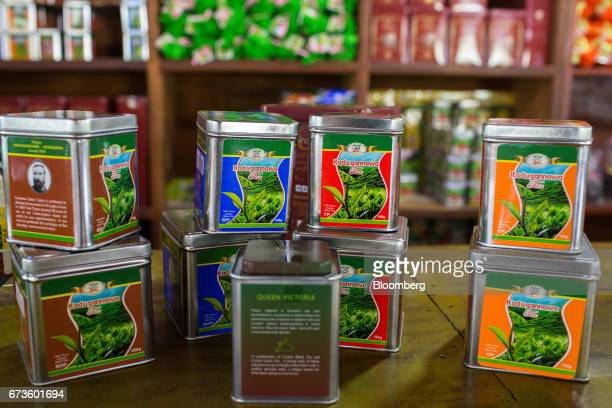 Packed house brand teas are displayed on a counter for a photograph at the factory store of the Geragama Tea Estate operated by Pussellawa...