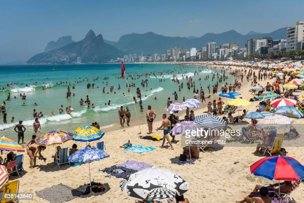 A packed Ipanema beach on hot summer's day.