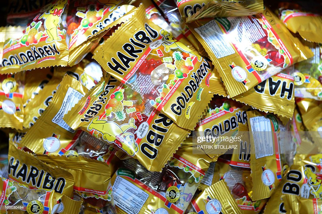 Packed mixed fruit gums are pictured after the production process at the HARIBO candy factory on January 24, 2013 in Bonn, western Germany.
