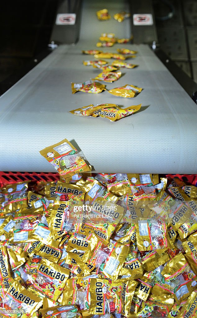 Packed mixed fruit gums are pictured on a production line after the production process at the HARIBO candy factory on January 24, 2013 in Bonn, western Germany.