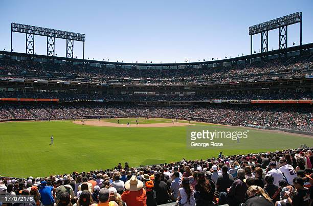 A packed sunny day at ATT Park is viewed from the center field bleachers on July 10 in San Francisco California Special ferry boats transport San...