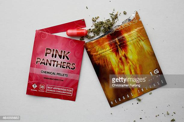 Packets containing 'Legal Highs' are displayed on a table on February 26 2015 in Manchester England There has been a significant rise in the use of...
