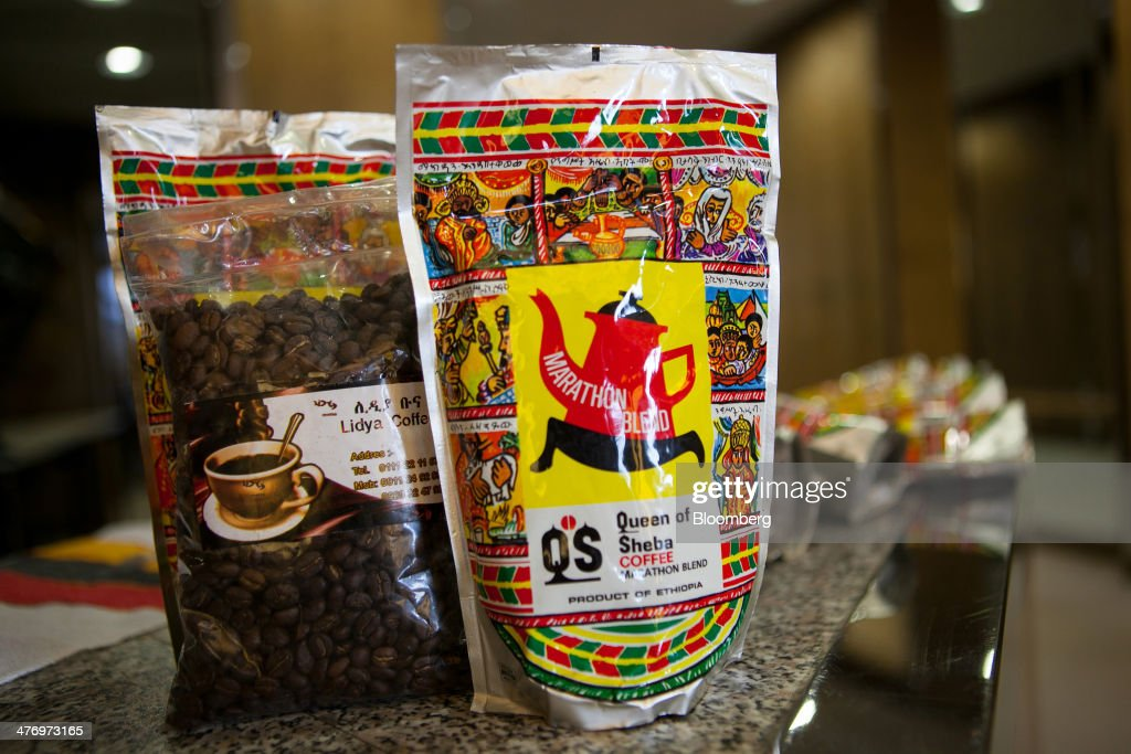 Packets of coffee beans sit on display during the Ethiopian Airlines Enterprise news conference at the ITB travel fair at Messe Berlin exhibition center in Berlin, Germany, on Thursday, March 6, 2014. Ethiopian Airlines said it will locate its fourth hub in the Democratic Republic of Congo as Africa's No. 2 carrier seeks to tap Chinese economic links and fill long-haul flights to destinations such as Brazil. Photographer: Krisztian Bocsi/Bloomberg via Getty Images