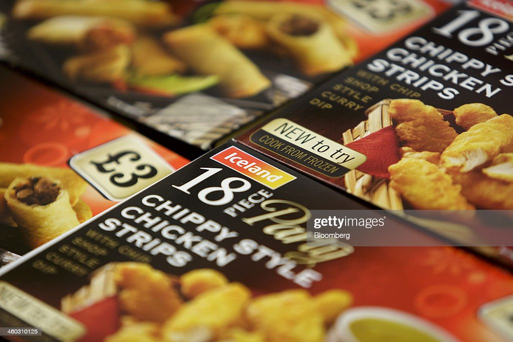Packets of frozen chicken strip ready-meals sit for sale in the freezer of an Iceland Foods Ltd. store in Prague, Czech Republic, on Friday, Jan. 3. 2014. The Czech Republic's 2013 budget deficit of 80.9 billion koruna ($4.01 billion) beat the 100 billion-koruna target after the government cut spending, the Finance Ministry said. Photographer: Martin Divisek/Bloomberg via Getty Images
