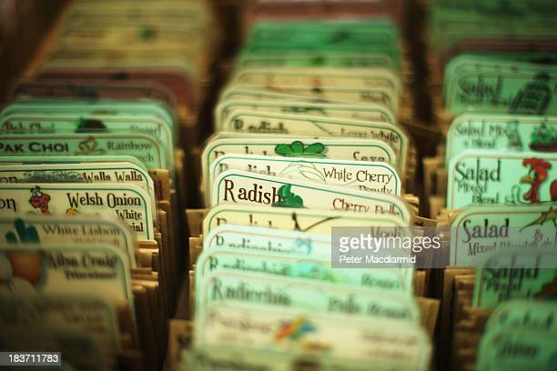 Packets of vegetable seeds are displayed for sale at the Royal Horticultural Society Harvest Festival Show on October 9 2013 in London England The...