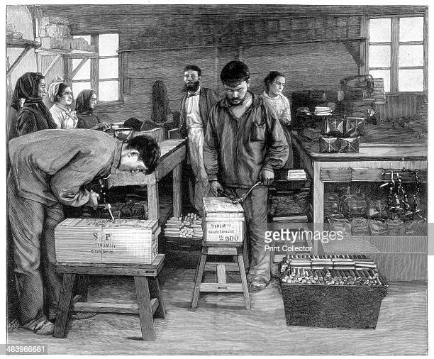 Packing cartridges into boxes at Isleten near Fluelen Switzerland 1893 A print from the Illustrated London News