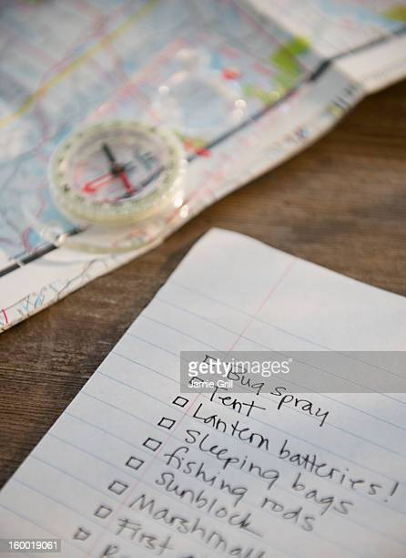 Packing list, compass and map