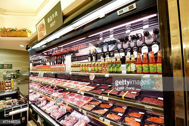 Packs of beef imported from Australia are displayed for sale at supermarkets on June 17 2015 in Beijing China China's Minister of Commerce Gao...