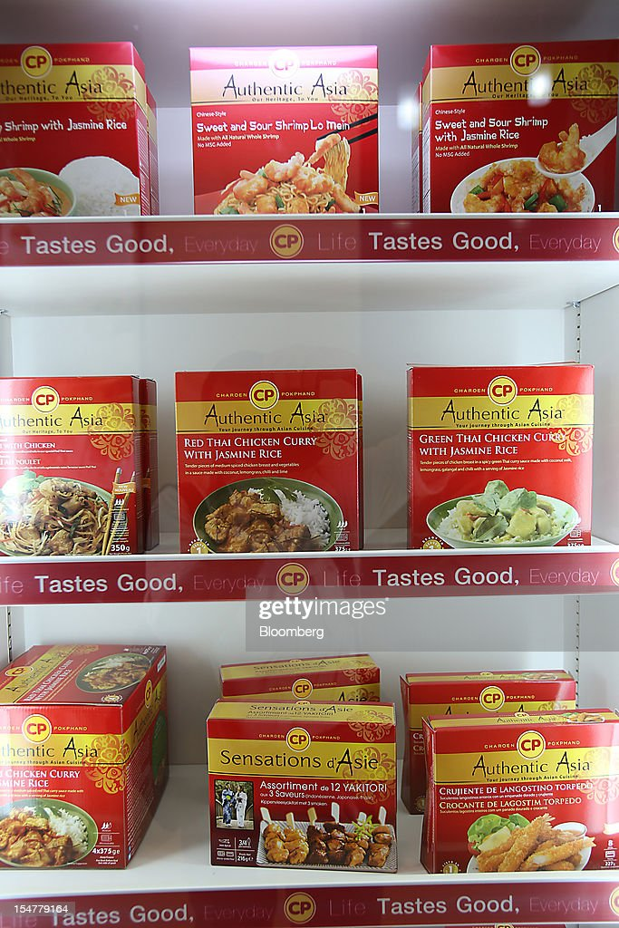 Packs of Charoen Pokphand Foods Pcl (CP Foods) frozen meals are displayed in a refrigerator at the company's plant in Chok Chai, Nakhon Ratchasima province, Thailand, on Thursday, Oct. 25, 2012. CP Foods, controlled by billionaire Dhanin Chearavanont, is the nation's biggest meat and animal-feed producer. Photographer: Dario Pignatelli/Bloomberg via Getty Images