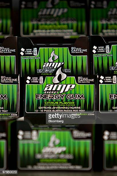 Packs of PepsiCo Inc Amp chewing gum sit on display during a PepsiCo investor meeting at Yankee Stadium in New York US on Monday March 22 2010...