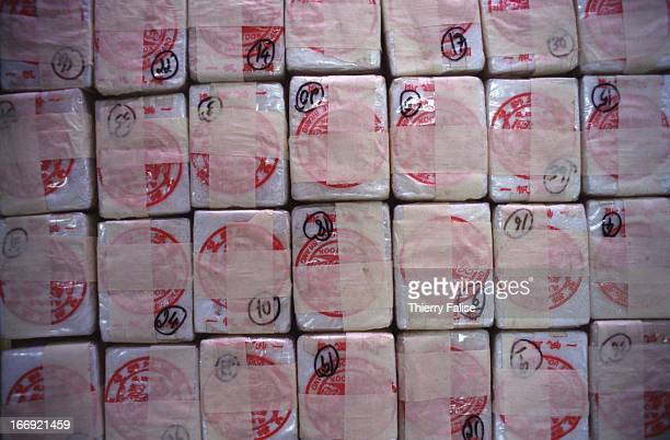 Packs of pure heroin that have been sorted by Thai authorities before being brought to a drugburning ceremony