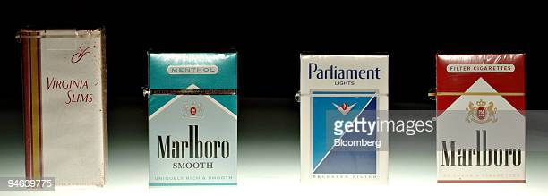 Packs of Virginia Slims Marlboro Smooth Menthol Parliament Lights and Marlboro cigarettes are arranged for a photograph in Denver Colorado Thursday...