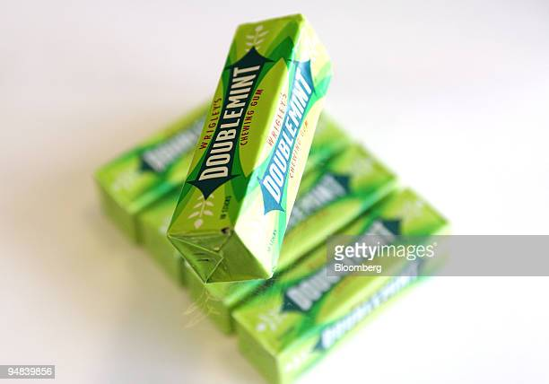 Packs of Wrigley's Doublemint chewing gum are displayed in this studio image in London UK on Monday April 28 2008 Mars Inc and Warren Buffett's...