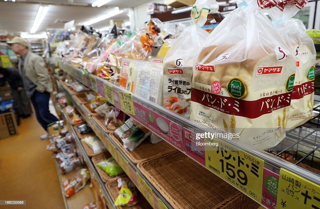 Packs of Yamazaki Baking Co. bread sit on a shelf at a supermarket in Tokyo, Japan, on Tuesday, April 9, 2013. After Bank of Japan Governor Haruhiko Kuroda's first policy meeting as governor on April 4, the central bank set a two-year horizon for the 2 percent annual price-increase target that it adopted in January at the urging of Prime Minister Shinzo Abe. Photographer: Tomohiro Ohsumi/Bloomberg via Getty Images