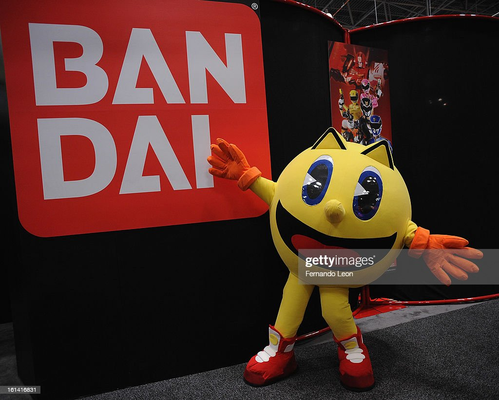Pac-Man joins opening ceremonies at Toy Fair to celebrate the launch of new Pac-Man Toys from Bandai of America, based on the upcoming Disney XD animated series 'PAC-MAN and the Ghostly Adventures' at Jacob Javitz Center on February 10, 2013 in New York City.