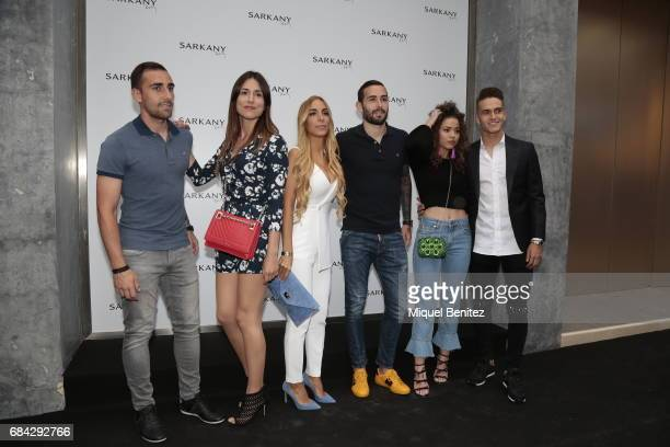 Paco Alcacer and Denis Suarez attend the Sarkany Shoes Boutique Openeing in Barcelona on May 17 2017 in Barcelona Spain