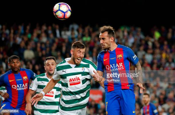 Paco Alcacer and Sergi Enrich during La Liga match between FC Barcelona v SD Eibar in Barcelona on May 21 2017