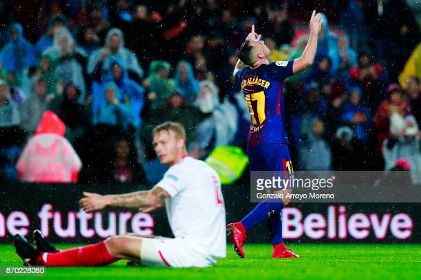 Paco Alcacer celebrates scoring their second goal during the La Liga match between FC Barcelona and Sevilla FC at Camp Nou stadium on November 4 2017...