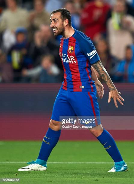 Paco Alcacer of Barcelona celebrates after scoring a goal during the La Liga match between FC Barcelona and Real Sociedad de Futbol at Camp Nou...