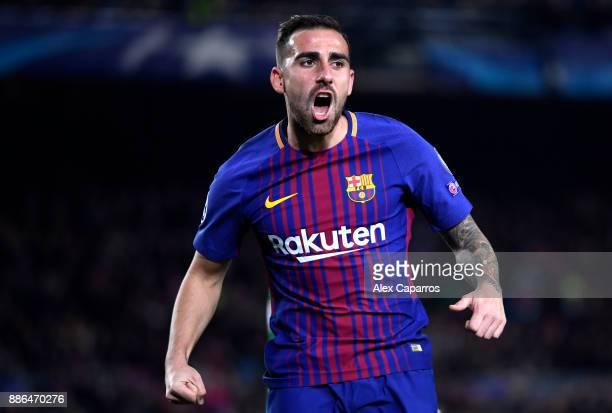Paco Alcacer of Barcelona celebrates after scoring his sides first goal during the UEFA Champions League group D match between FC Barcelona and...