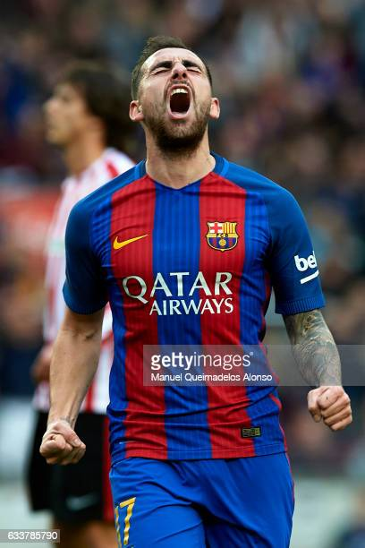 Paco Alcacer of Barcelona celebrates scoring his team's first goal during the La Liga match between FC Barcelona and Athletic Club at Camp Nou...