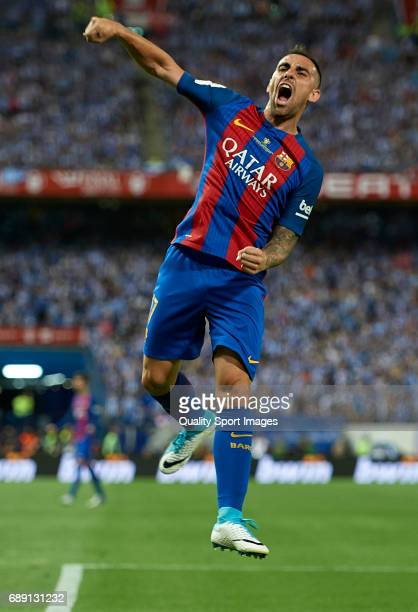Paco Alcacer of Barcelona celebrates scoring his team's third goal during the Copa Del Rey Final match between FC Barcelona and Deportivo Alaves at...