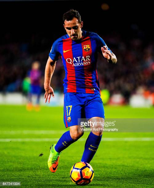 Paco Alcacer of Barcelona in action during the La Liga match between FC Barcelona and Real Sporting de Gijon at Camp Nou on March 01 2017 in...