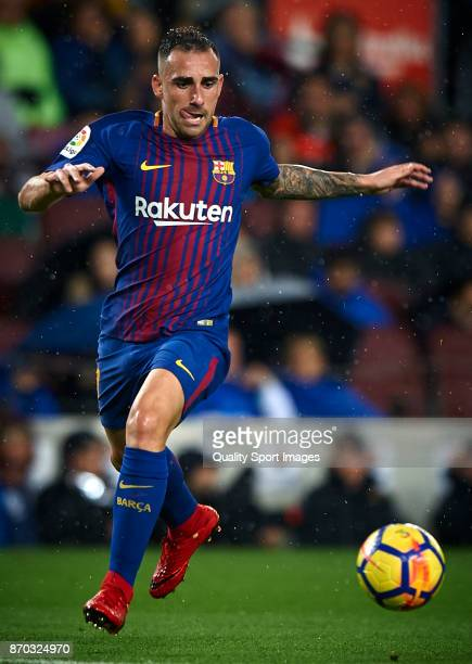 Paco Alcacer of Barcelona in action during the La Liga match between Barcelona and Sevilla at Camp Nou on November 4 2017 in Barcelona Spain