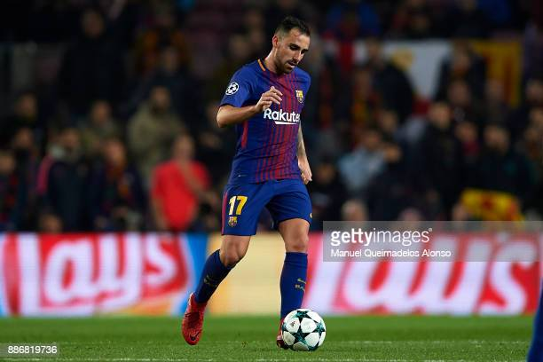 Paco Alcacer of Barcelona in action during the UEFA Champions League group D match between FC Barcelona and Sporting CP at Camp Nou on December 5...