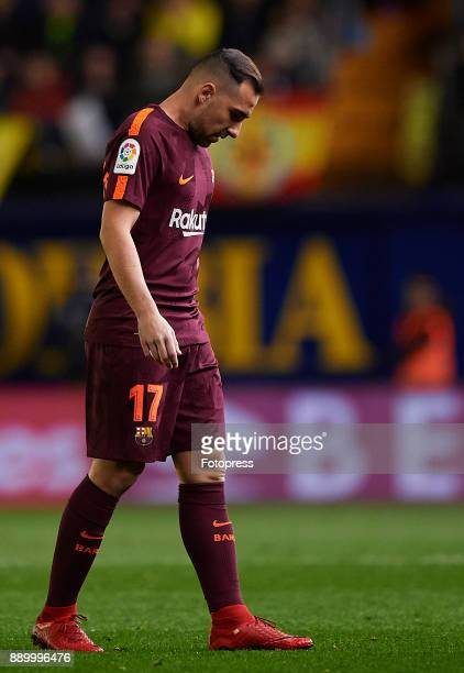 Paco Alcacer of Barcelona reacts during the La Liga match between Villarreal and Barcelona at Estadio La Ceramica on December 10 2017 in Villarreal...