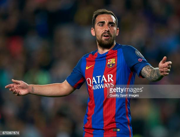Paco Alcacer of Barcelona reacts during the UEFA Champions League Quarter Final second leg match between FC Barcelona and Juventus at Camp Nou on...