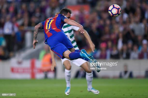 Paco Alcacer of Barcelona takes a shot on goal during the La Liga match between Barcelona and Eibar at Camp Nou on 21 May 2017 in Barcelona Spain