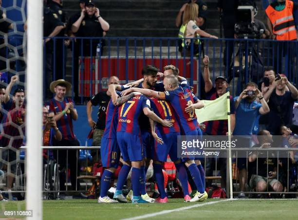 Paco Alcacer of FC Barcelona celebrates a goal during the Copa Del Rey Final between FC Barcelona and Deportivo Alaves at Vicente Calderon Stadium on...